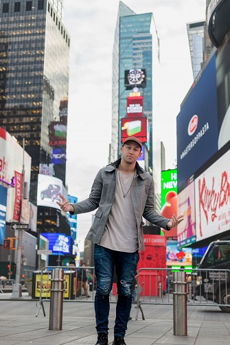 Matt Steffanina representing Dance USA Dance in Times Square, NYC
